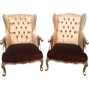 decorated pair of two chairs in French Louis XVI style
