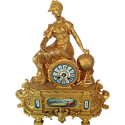 REDUCED Antique French table clock with Sevres porcelain-about 1880- Free Shipping
