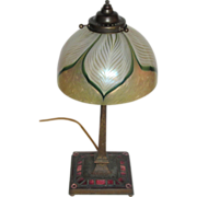 """SALE Tiffany Studios, Art Deco Red Enameled Base w 7"""" Pulled Feather Art Glass Shade"""