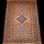 Persian handmade Karadja Oriental Rug , Northwest Persia circa 1920 , 6 x 4.2