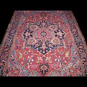 Persian handmade Heriz Oriental Rug , Carpet , Northwest Persia circa 1920 , 11.1 x 8