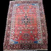 Antique Persian Sarouk Ferahan Oriental Rug circa 1900 , 4.11 x 3.6