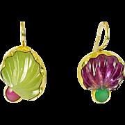 SOLD Custom Designed Carved Opal Jade Tourmaline Earrings