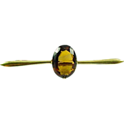 Victorian English 15 Carat Gold Madeira Citrine Bar Brooch