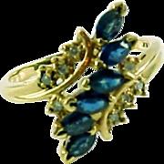 Diamond Sapphire 14k Gold Cluster Ring