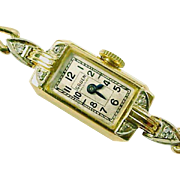 Art Deco Gruen 14K Diamond Wristwatch