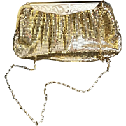 Vintage 1980s Whiting & Davis Gold Mesh Bag with Original Purse Accessories 80s