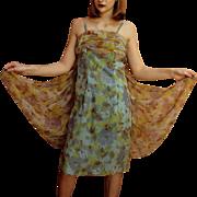"Vintage 1960s Marjon Couture Floral Chiffon Mod Dress  w/""ANGEL WINGS""! 60s"