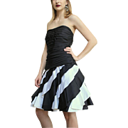 TOTALLY AWESOME Vintage 80s TADASHI Black/White Taffeta Strapless prom/party Dress 1980s