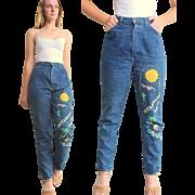 "Vintage 80s ""VALLEY GIRL Street-Wise"" PAINTED HIgh Waist Jeans MEDIUM -  1980s"