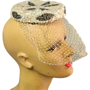 "EXQUISITE Vintage 50s Sequin/Beaded cocktail ""Wedding Topper"" Halo Hat w/Veil - 1950"