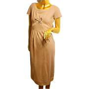 "Vintage CARYLYE 50s CAMEL WOOL ""Wiggle"" Dress 1950s"