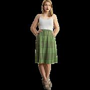 The ULTIMATE PREPPY 50s Vintage WOOL PLAID Pleated Midi Skirt 1950s