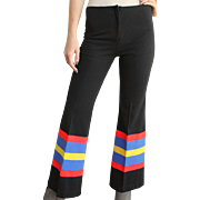 TRENDING 4 FALL! Mod hippie Vintage 70s FLARES Flared BLK STRIPED Pants 1970s