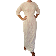 Vintage 60s Mod CLASSIC IVORY LACE SHEATH Wedding/Maxi Dress Gown 1960s