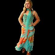 EXQUISITE Vintage 90s ALBERTO MAKALI gypsy boho ethnic Beaded 3pc Dress/skirt/top 1990s