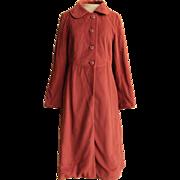 TRENDING NOW! Vtg 60s PRINCESS Flannel Wool BURGUNDY Mod Peter Pan Collar Coat 1960s