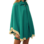 Chic Vintage 60s Mod HIPPIE 2 PC Scooter Dress/Cape/Poncho - Aqua & Fringe 1960s