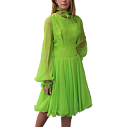 Fashion History! Vintage 60s LILLIE RUBIN Mod Chartreuse BEADED Party Dress 1960s