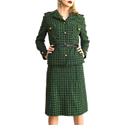 Museum Quality: Vintage 50s MADE IN SWITZERLAND iconic Military-cut Skirt Suit - sz Small - ..