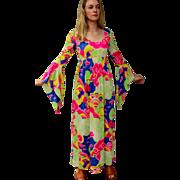 Vintage 70s NEIMAN MARCUS Psychedelic hippie boho Festival Maxi Dress 1970s