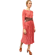 SEEN ON CELEBS!! $900+ Vintage 80s MARY MCFADDEN Fortuny Pleat midi cocktail Dress 1980s