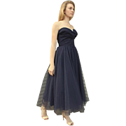Vintage 50s NAVY BLUE TULLE Prom/Party Dress W/BOLERO JACKET - 1950s