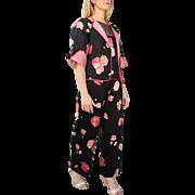 "ICONIC GEOFFREY BEENE vintage 70s Top/Pant/Jacket Suit - Silk/Chiffon ""Asian Kimono"""