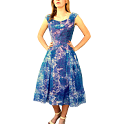 "Vintage 50s ""New Look"" blue/purple Party Prom Dress 1950s"
