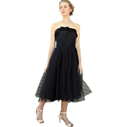 "AWESOME Vintage 50s Black TULLE party/prom Strapless Cocktail Dress ""New Look"" 1950s"