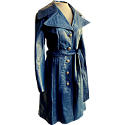 "UNUSUAL AZURE BLUE! Vintage 70s ""Spy Girl"" Leather military/mod/hippie Trench Coat 1"