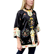 Vintage 70s ASIAN KIMONO Embroidered Satin Tunic Top/Jacket -- One Size Fits Most 1970s