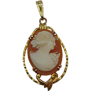 REDUCED Victorian Edwardian 10 Karat Yellow Gold Carved Angel Skin Coral Cameo Lavalier Pendan