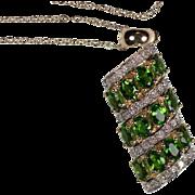 SALE Stunning Estate 14 Karat Yellow Gold Chrome Diopside and Diamond Pendant Necklace. ...