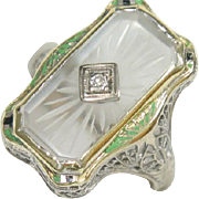 REDUCED Vintage Art Deco 14 Karat  White Gold Diamond and Hand-Carved Camphor Chrystal Filigre
