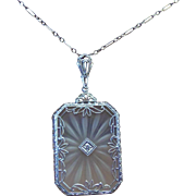 REDUCED FINAL Price! Utter Art Deco Elegance Has This Stunning Large Camphor Glass Necklace ..