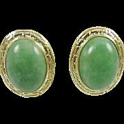 SALE Vintage Very Large  Solid 14K Gold Gorgeous Green Jade Greek Key Earrings