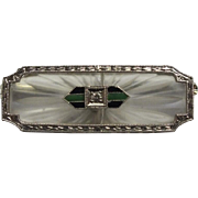 SALE Incredible Art Deco 14 Karat White Gold Diamond and Enamel Camphor Brooch. 3.3 ...