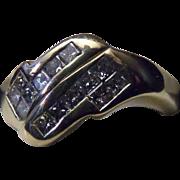 SALE Vintage Estate Princess Cut .50 Carat Diamond Ring 14k Yellow Gold size 5.5 ...