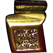 REDUCED Lovely Estate European 18 Karat Yellow Gold Charm or Slider pendant with .40 carats ..
