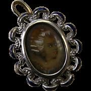 SALE 18 Karat White Gold Hand Painted Miniature Portrait Pin/Pendant Circa 1920's Alessandria