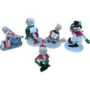 SALE Vintage Set of Christmas Annalee Mobilitee Dolls Ranging from 1963 to 1992. Wonderful fin