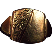 Men's Non-Monogrammed 9CT Signet Ring Dated 1881 Made in Birmingham, UK by WRR