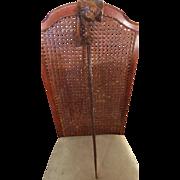 SALE Vintage Old Hand Turned Burl Wood Peace Pipe. 2 1/2 feet long