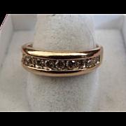 REDUCED Vintage Estate 14 Karat Yellow Gold Diamond Man's ..88 Carat Wedding Ring Band ...