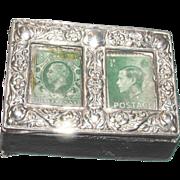 REDUCED Edwardian Sterling Silver Rare Double Stamp Box.  Edward Barnsley, Birmingham, England