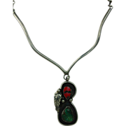 SALE Stunning David F. Garcia Silver Turquoise and Coral Necklace with Large Pendant