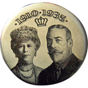 Rare 1935 King George V and Queen Mary Jubilee Button with Ribbon