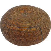 SALE Vintage intricately carved gourd. Classic Peruvian Cuzco Region style.