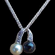 REDUCED Vintage Diamond Black & White Cultured Sea Pearl 14 Karat White Gold Necklace
